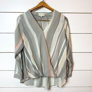 Cynthia Rowley Long Sleeve Cross Over STRIPED Top